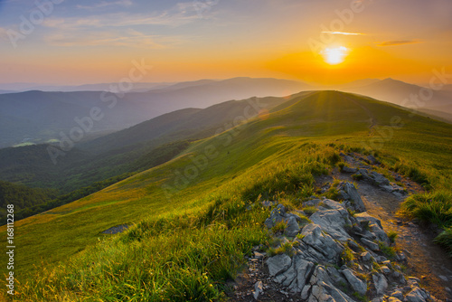 Fototapety, obrazy : Sunset in the mountains