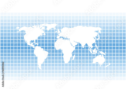White vector world map silhouette on bright blue squares background white vector world map silhouette on bright blue squares background gumiabroncs Image collections