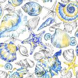 Hand painted seashells pattern. Watercolor vintage ocean background. Original hand drawn illustration. Marine design. Tropical shell, starfish texture. - 168116418