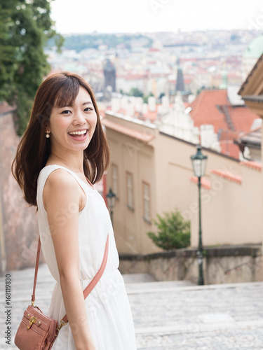 Sticker portrait of young asian woman traveling in europe