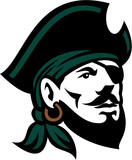 Pirate Head Eyepatch Looking Up Retro Wall Sticker