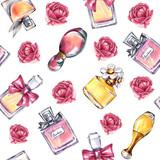 Vintage perfume flowers pattern. Beauty and fashion seamless pattern - 168123602