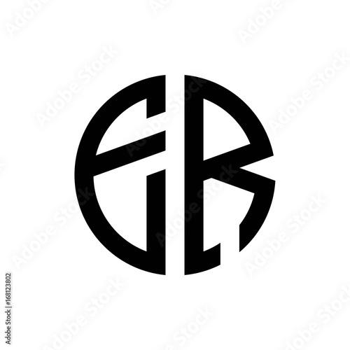 initial letters logo er black monogram circle round shape vector