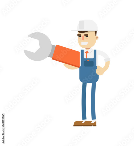 Young mechanic in uniform with big wrench icon. Diagnostic and repair vector illustration in flat design.