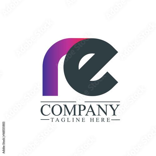 Initial Letter RE Linked Design Logo