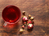 Herbal tea from rose petals, red floral
