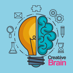 creative brain idea lightbulb innovation vector illustration