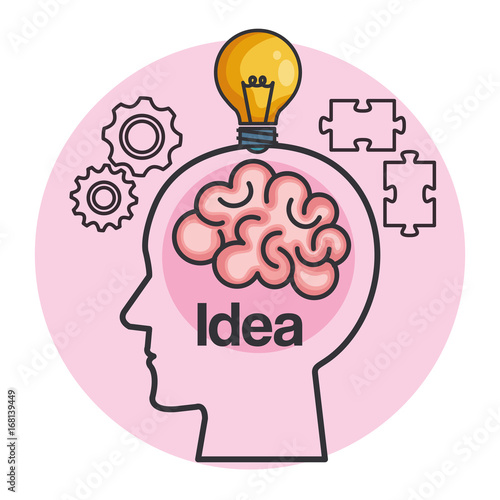 Fridge magnet human head creating a new idea vector illustration