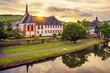 Quadro small town near river in europe