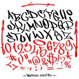 Hand written graffiti font alphabet. Vector set on white