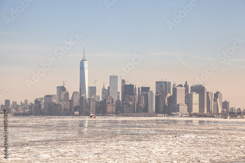 Frozen NYC Skyline; Rare Ice-covered Hudson River; Winter Polar Vortex 2015; Cli Poster