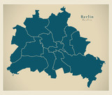 Modern City Map - Berlin city of Germany with boroughs DE - 168154063