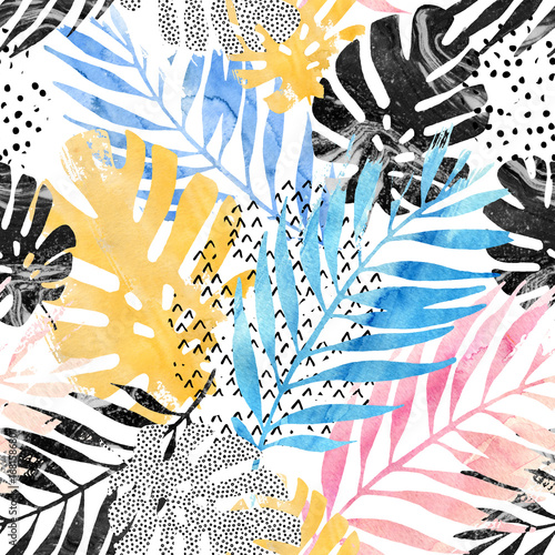 Art illustration: trendy tropical leaves filled with watercolor grunge marble texture, doodle elements background. - 168158680
