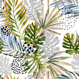 Abstract palm, monstera leaf seamless pattern. - 168158819