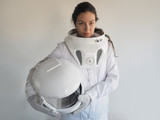Female astronaut on a white background. Fantastic space suit. Exploration of outer space. - 168163861