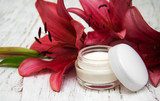 Face cream with lily flowers