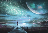 Fantastic illustration with an unknown planet and MilkyWay, stars.  girl in  dress is standing on pier on the sea and looking at the space landscape. Painting. - 168168260