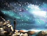 Fantasy illustration of the Milky Way, the stars. A man standing on a mountain and looking at the space landscape. Painting. Bly sky