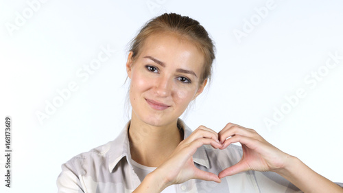 Young Girl Showing Heart Made by hands