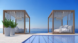 Beach lounge - Sundeck on Sea view for vacation and summer in swimming pool / 3d rendering - 168174697