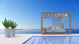 Beach lounge - Sundeck on Sea view for vacation and summer in swimming pool / 3d rendering - 168174826