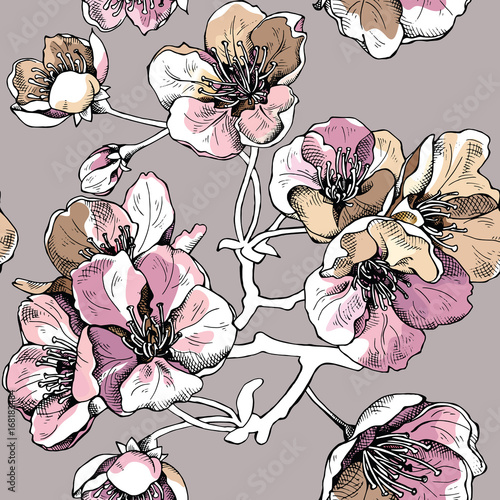 Cotton fabric Seamless pattern with pink and gold flowers cherry on a beige background. Vector illustration.