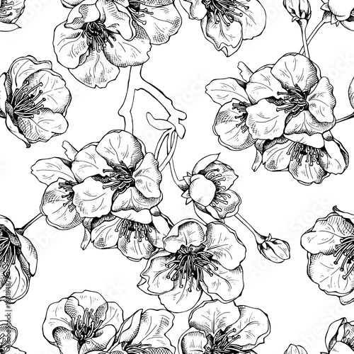 Cotton fabric Seamless Pattern with Flowers of a Cherry (Sakura). Vector illustration.