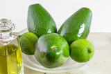 Avocado, fruit like butter, flesh, pip, olive oil, lemon
