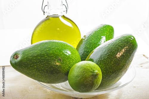 Avocado, fruit like butter, flesh, pip, olive oil, lemon - 168188482