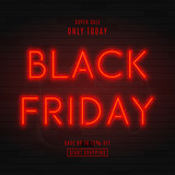 Fototapety Dark background for black Friday sale. Modern neon red billboard on brick wall. Concept of advertising for seasonal offer with glowing neon text.