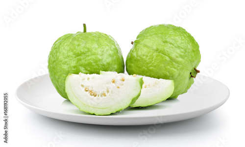 guava in a plate isolated on a white background