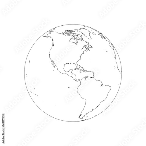 Earth Globe Wireframe Focused On America Vector Illustration Of