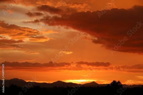 Fotobehang Baksteen Yellow gold sky evening In tropical countries summer