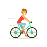 Beautiful young woman character riding bicycle vector Illustration