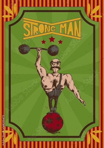 Fotobehang Vintage Poster vector illustration of hand drawn man on a vintage red orange and green poster with the inscription strong man