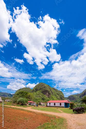 View of the Los Acuaticos, Vinales, Pinar del Rio, Cuba. Copy space for text.