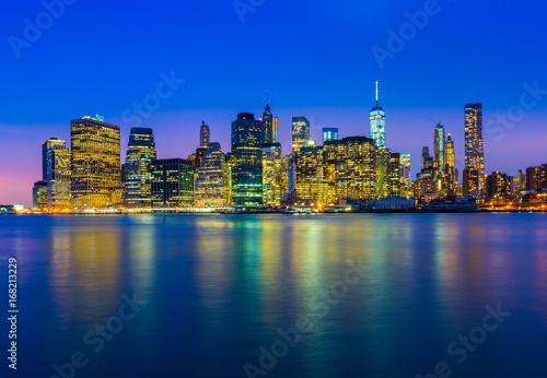 Manhattan skyline at night. New York city - NY, USA.
