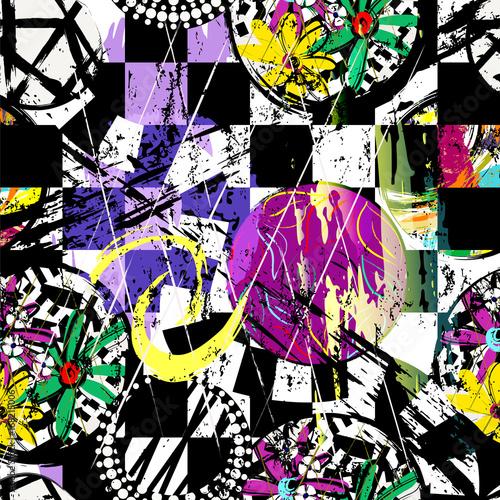 Fotobehang Abstract met Penseelstreken seamless geometric pattern background, retro/vintage style, with circles, stripes, flowers, strokes and splashes