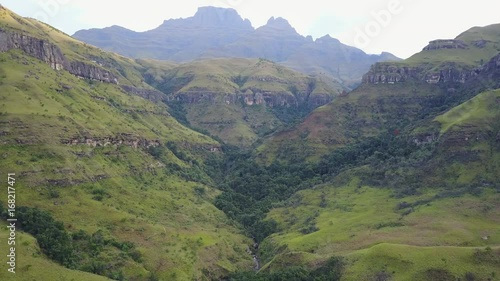 Poster Aerial view valley landscape from the eastern portion of the Great Escarpment the Drakensberg in South Africa