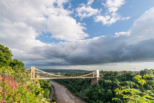 Clifton Suspension bridge spans the River Avon gorge on a summers day.