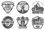 Fototapety Set of motorcycle monochrome emblems, labels, logos and motorbike badges with descriptions of custom bikes, classic garage, born to be wild. vector illustration