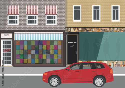 Wall mural Street city, home and car