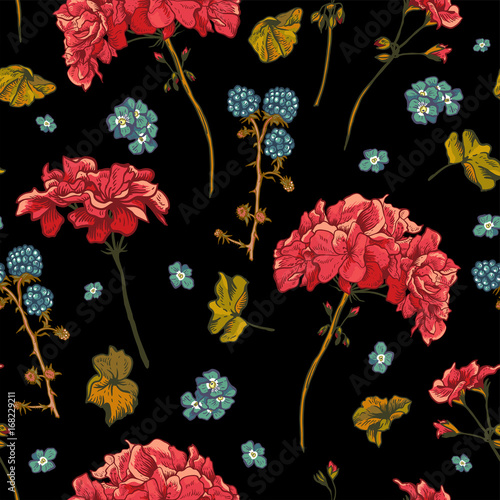 Poster Floral seamless pattern with blooming geraniums