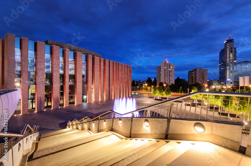 Fototapety, obrazy : Katowice in the evening. Night city