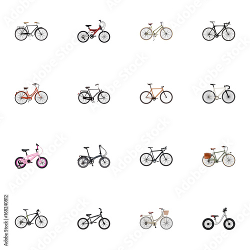 Realistic Road Velocity, Fashionable, For Girl And Other Vector Elements. Set Of Bicycle Realistic Symbols Also Includes Kids, Wooden, Track Objects.