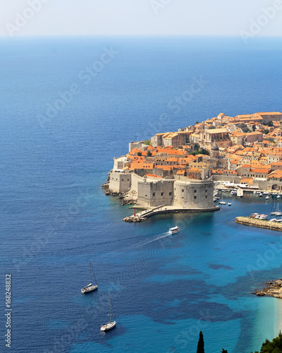Dubrovnik walls at blue Adriatic sea aerial