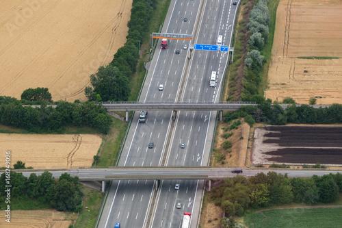 Fridge magnet Straße Autobahn Verkehr Transport Feld Felder Luftbild