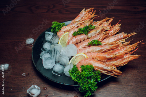 Red shrimp on a wooden board ice papper Argentina - 168251259