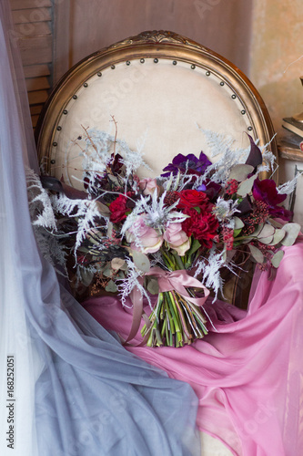 Armchair with flowers, decorate in purple blue and pink