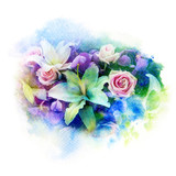Flower watercolor illustration. - 168260861